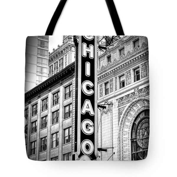 1077 Chicago Theater Black And White Tote Bag