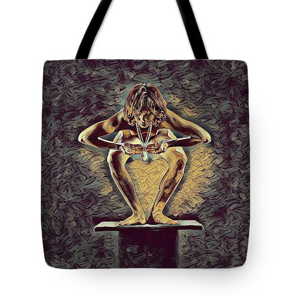 1083s-zac Dancer Squatting On Pedestal With Amulet Nudes In The Style Of Antonio Bravo  Tote Bag by Chris Maher