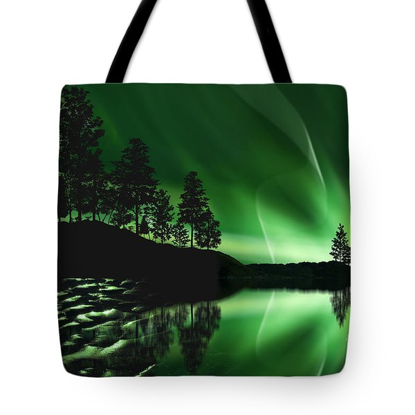 Tote Bag featuring the photograph Aurora Borealis by Setsiri Silapasuwanchai