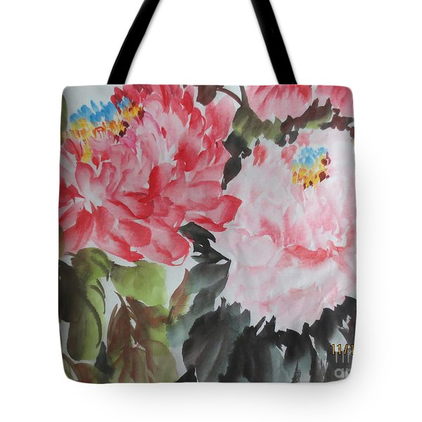 Tote Bag featuring the painting 11192015-0756 by Dongling Sun