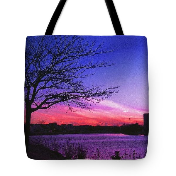 Purple Sunset Tote Bag by Lauren Fitzpatrick