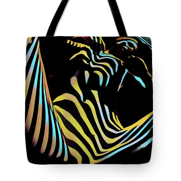 1149s-ak Dramatic Zebra Striped Woman Rendered In Composition Style Tote Bag