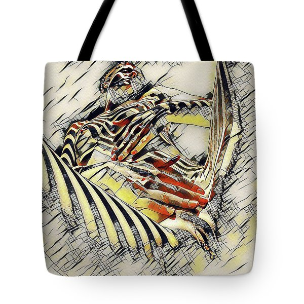 1177s-ak Abstract Nude Her Fingers On Pubis Erotica In The Style Of Kandinsky Tote Bag by Chris Maher