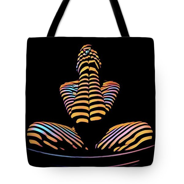 1183s-mak Hands Over Face Zebra Striped Woman Rendered In Composition Style Tote Bag
