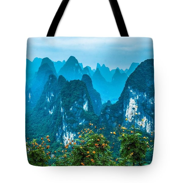 Tote Bag featuring the photograph Karst Mountains Landscape by Carl Ning