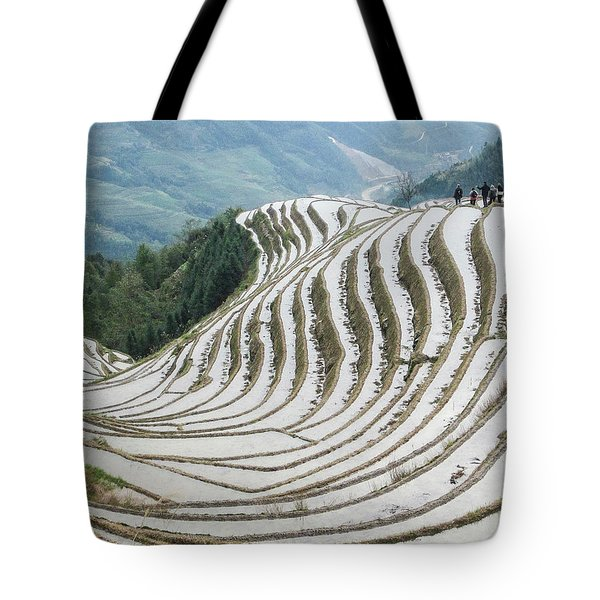 Terrace Fields Scenery In Spring Tote Bag