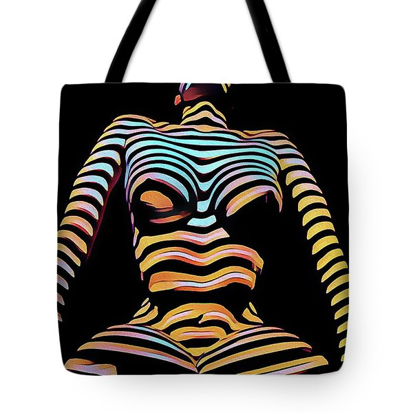 1205s-mak Seated Figure Zebra Striped Nude Rendered In Composition Style Tote Bag