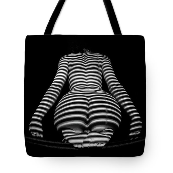 1249-mak Zebra Woman Rear View Striped Sexy Nude  Tote Bag