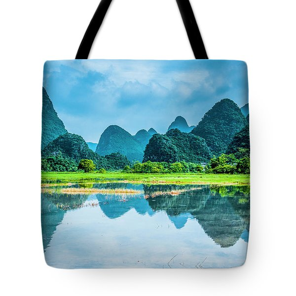 Tote Bag featuring the photograph Karst Rural Scenery In Raining by Carl Ning