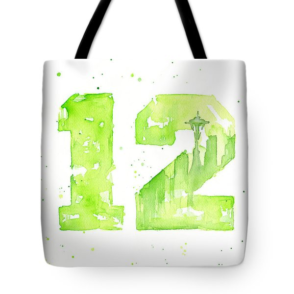 12th Man Seahawks Art Go Hawks Tote Bag by Olga Shvartsur