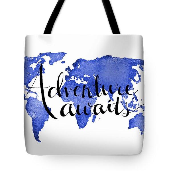 12x16 Adventure Awaits Blue Map Art Tote Bag