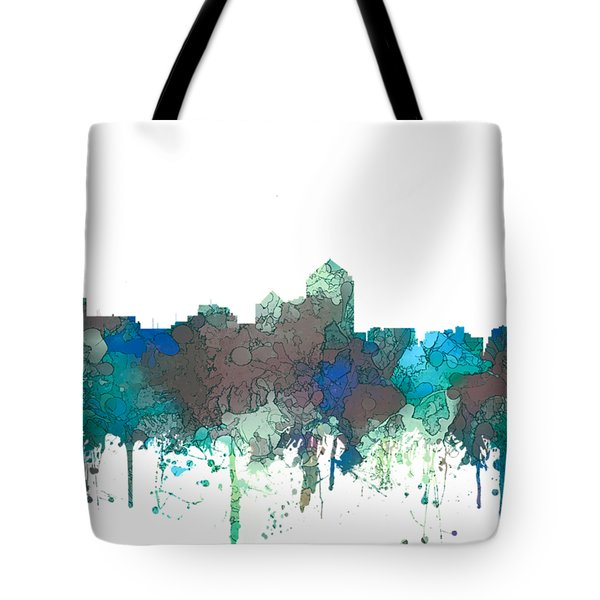 Tote Bag featuring the digital art Albuquerque New Mexico Skyline by Marlene Watson