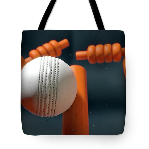 Cricket Ball Hitting Wickets Tote Bag