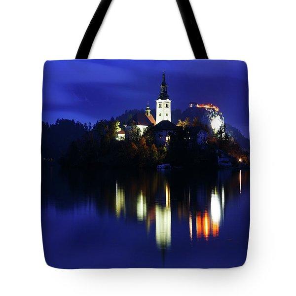 Dusk Over Lake Bled Tote Bag