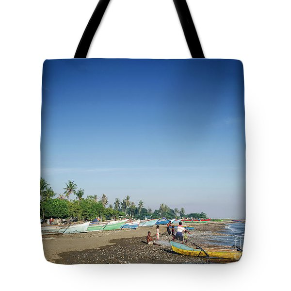 Traditional Fishing Boats On Dili Beach In East Timor Leste Tote Bag