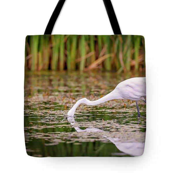 White, Great Egret Tote Bag