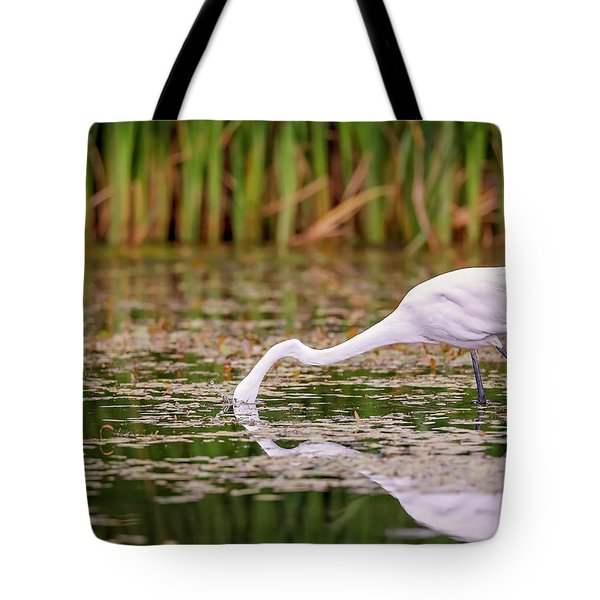 White, Great Egret Tote Bag