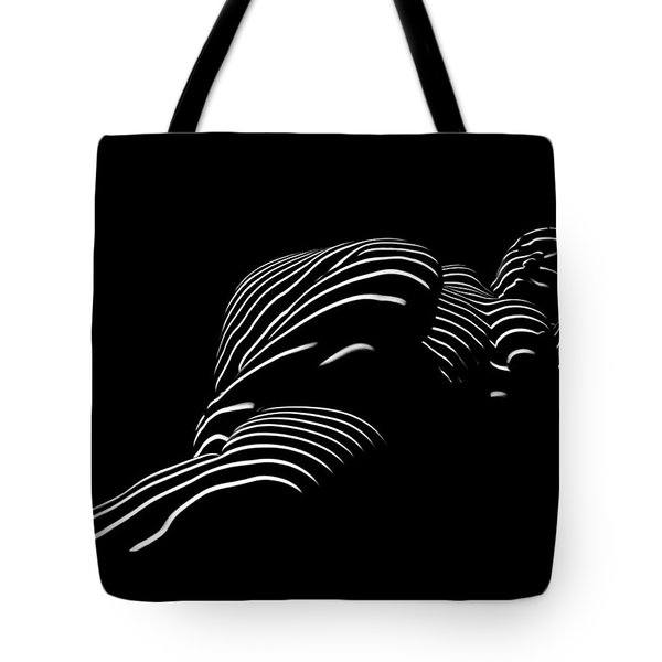 1400-tnd Zebra Woman Thin Striped Woman Black And White Abstract Photo By Chris Maher Tote Bag