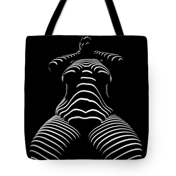 1422-tnd Zebra Woman Big Girl Striped Woman Black And White Abstract Photo By Chris Maher Tote Bag
