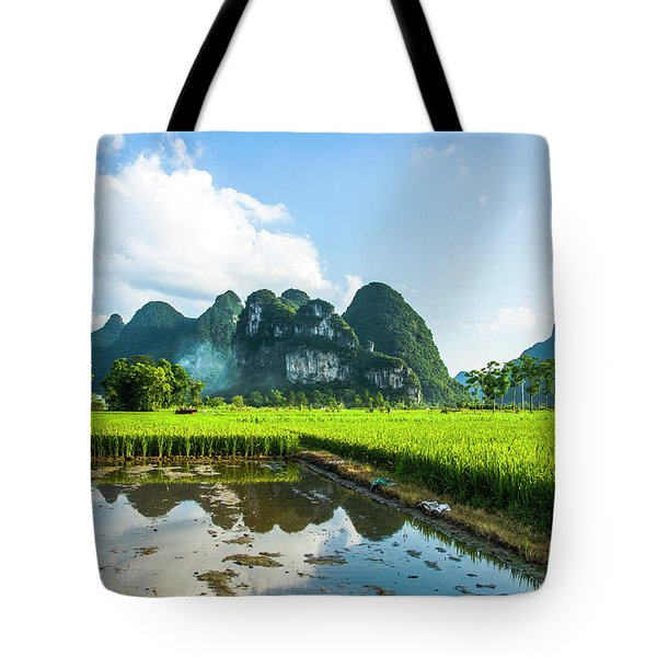 Tote Bag featuring the photograph The Beautiful Karst Rural Scenery by Carl Ning