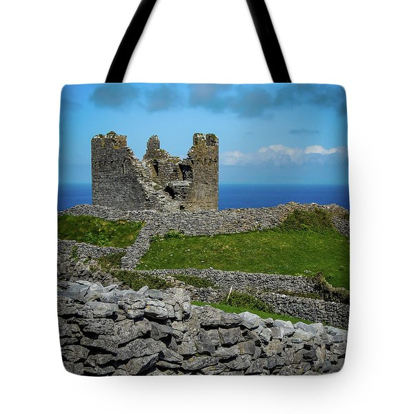 Tote Bag featuring the photograph 14th Century O'brien's Castle Aran Islands by James Truett