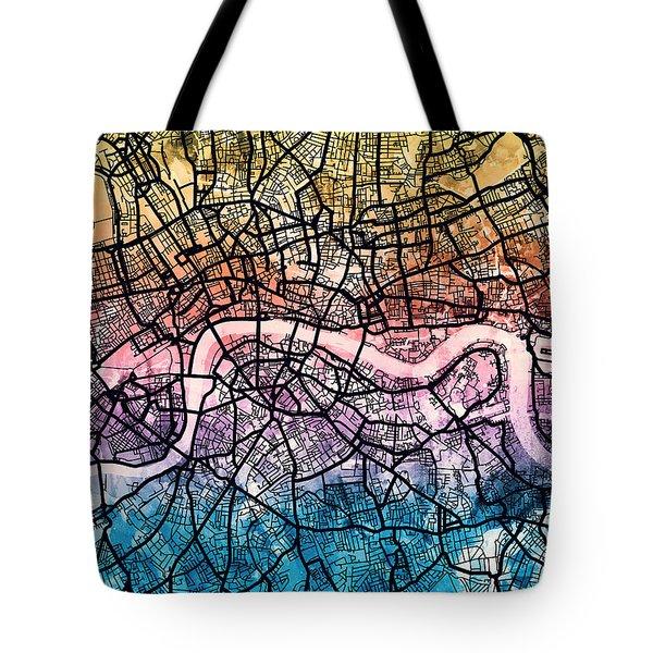 London England Street Map Tote Bag
