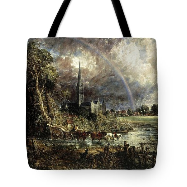 Salisbury Cathedral From The Meadows Tote Bag