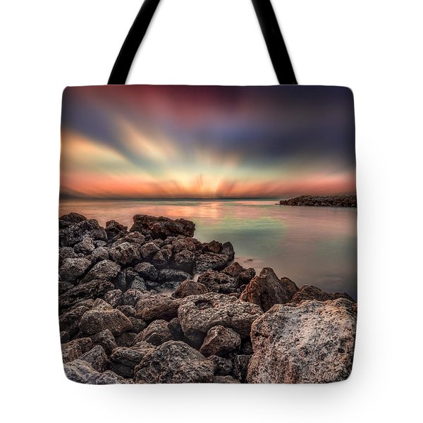 Sunst Over The Ocean Tote Bag