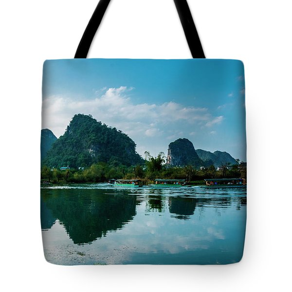 Tote Bag featuring the photograph The Karst Mountains And River Scenery by Carl Ning