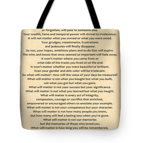 161- What Will Matter Tote Bag by Joseph Keane