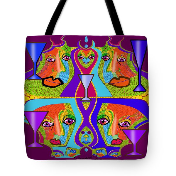 Tote Bag featuring the digital art 1688 - Funny Faces 2017 by Irmgard Schoendorf Welch