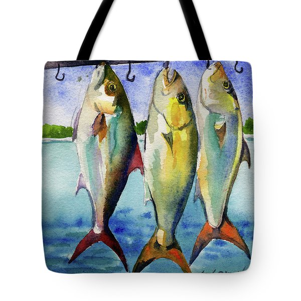 Tote Bag featuring the painting Amber Jack by Kris Parins