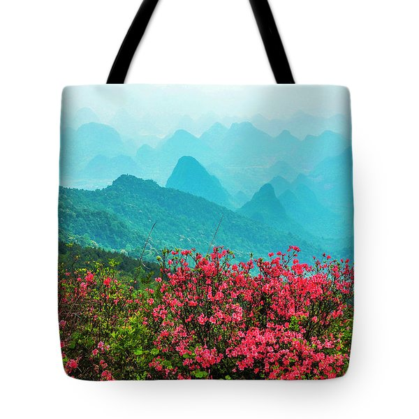 Blossoming Azalea And Mountain Scenery Tote Bag