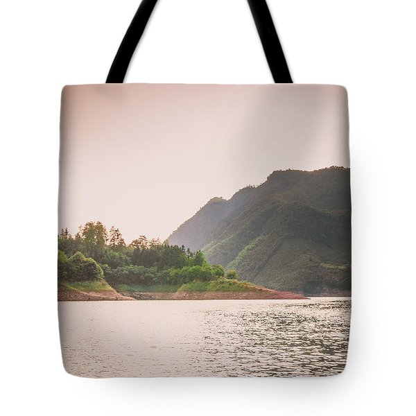 The Mountains And Lake Scenery In Sunset Tote Bag