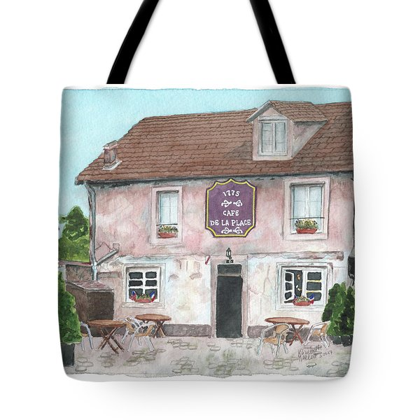 Tote Bag featuring the painting 1775 Cafe De La Place by Betsy Hackett