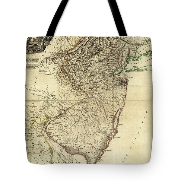 1778 Nj Map Tote Bag by Mark Miller