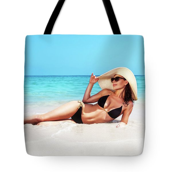 Beautiful Woman On The Beach Tote Bag