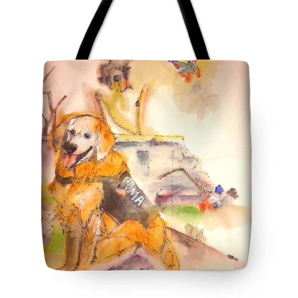 Tote Bag featuring the painting Dogs  Dogs  Dogs  Album  by Debbi Saccomanno Chan