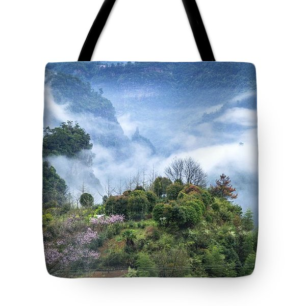 Tote Bag featuring the photograph Mountains Scenery In The Mist by Carl Ning