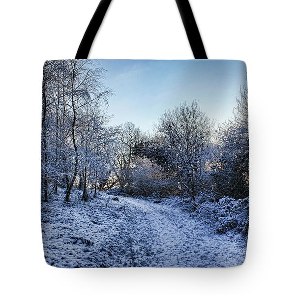 Snowy Cabin Wood Tote Bag