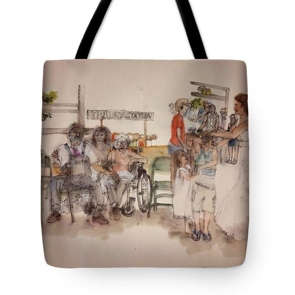 Tote Bag featuring the painting The Wedding Album  by Debbi Saccomanno Chan