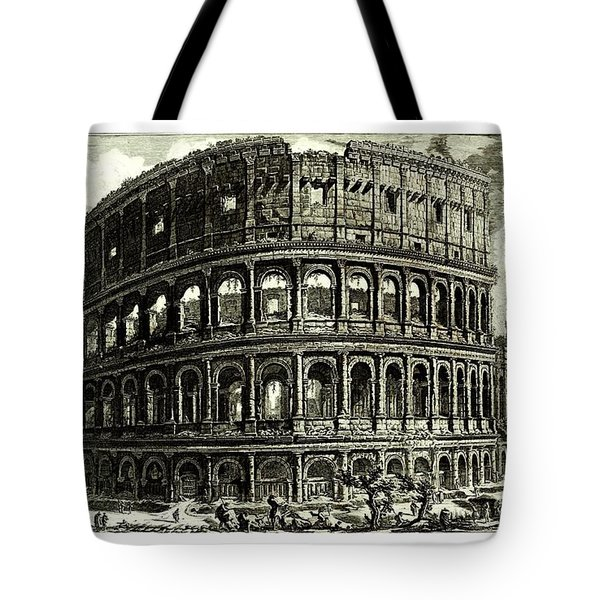 Tote Bag featuring the drawing 1810 Italian Etching Of The Ruins Of The Roman Colosseum Francesco Piranesi by Peter Gumaer Ogden