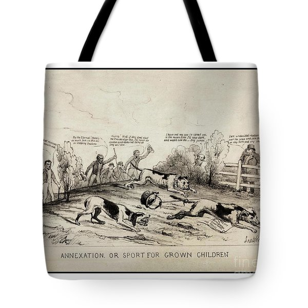 Tote Bag featuring the drawing 1845 Texas Mexico Annexation Cartoon by Peter Gumaer Ogden