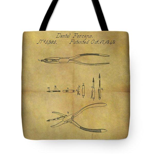 1848 Dental Forceps Patent Tote Bag by Dan Sproul