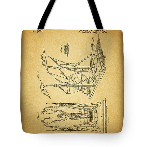 1853 Exercising Machine Patent Tote Bag by Dan Sproul