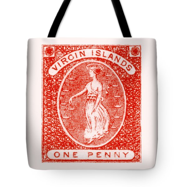 Tote Bag featuring the painting 1858 Virgin Islands Stamp by Historic Image