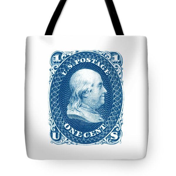 Tote Bag featuring the painting 1861 Benjamin Franklin Stamp by Historic Image