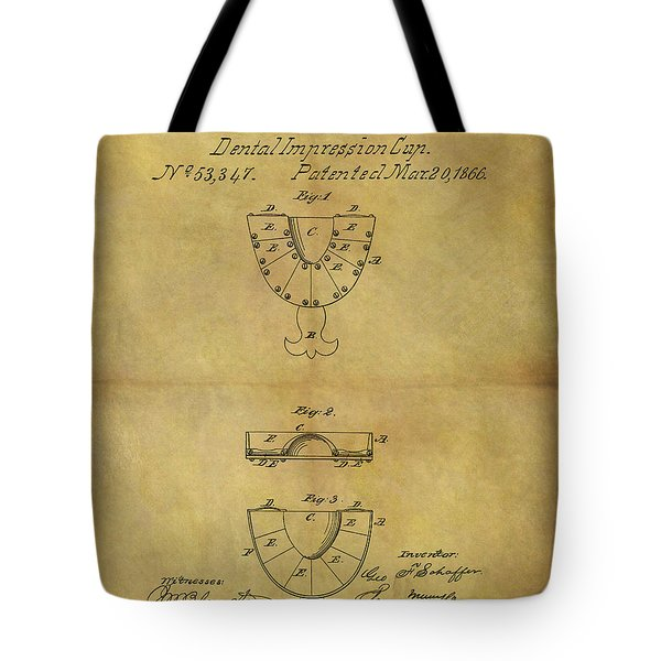 1866 Dental Mold Patent Tote Bag by Dan Sproul