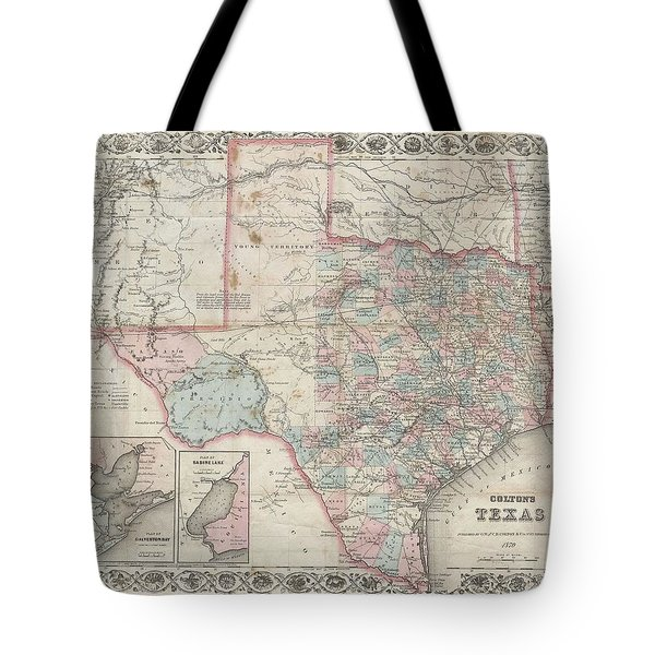 1870 Colton Pocket Map Of Texas Tote Bag