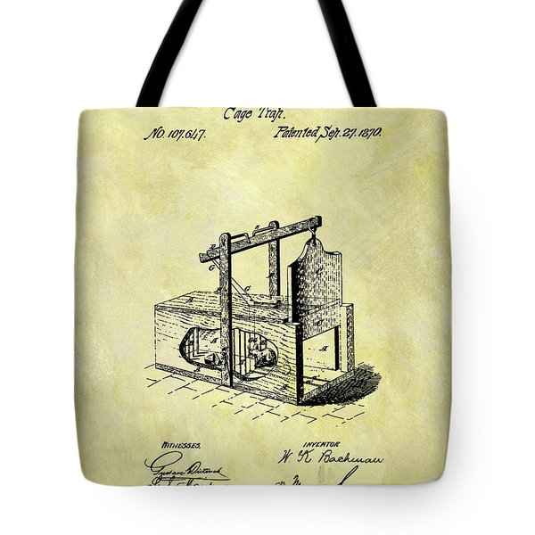 Tote Bag featuring the mixed media 1870 Mousetrap Patent by Dan Sproul